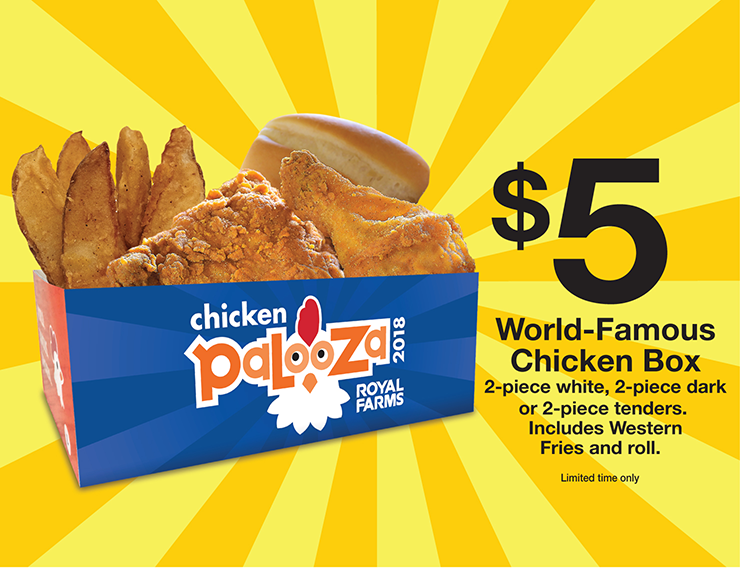 $5 World-Famous Chicken Box - 2 Piece white, 2 piece dark or 2 piece tenders. Includes Western Fries and Roll.