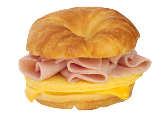 Ham, Egg & Cheese Breakfast Sandwich.