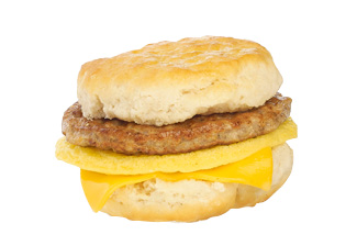 Sausage, Egg & Cheese Breakfast Sandwich.