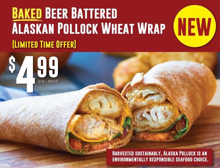 NEW Baked Beer Battered Alaskan Pollock Wheat Wrap