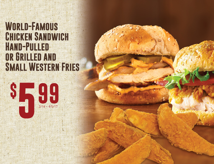 World Famous Chicken Sandwich Hand Pulled or Grilled  and Small Western Fries