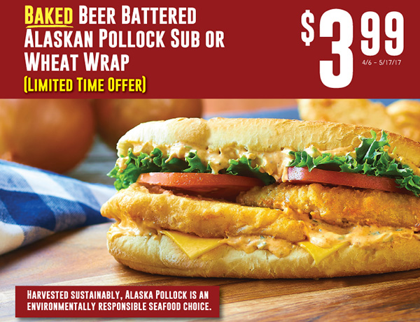 Baked Beer Battered Alaskan Pollock Sub or Wheat Wrap