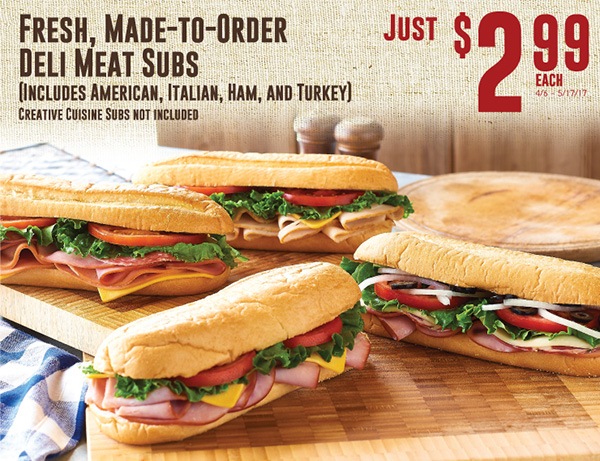 Fresh, Made-To-Order Deli Meat Subs