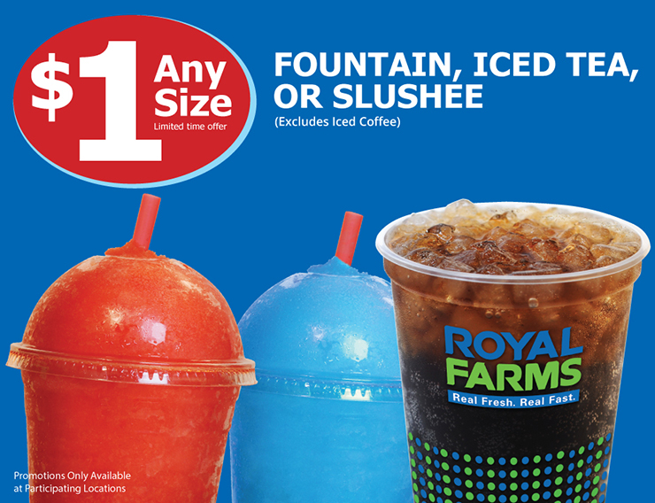 $1 Any Size Fountain Iced Tea or Slushee