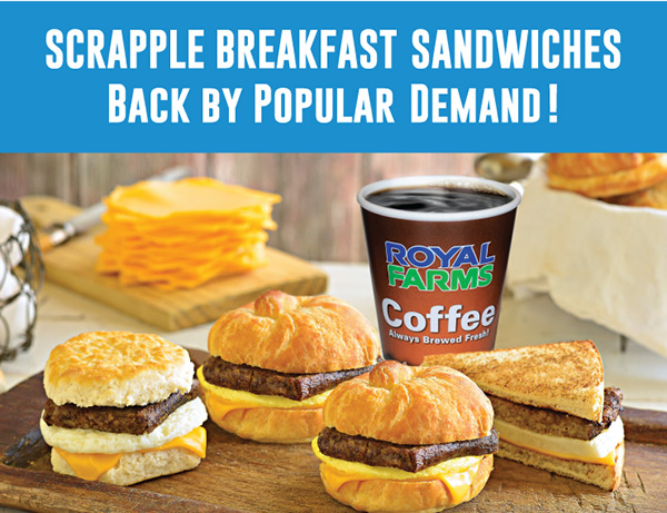Scrapple Breakfast Sandwiches Back by Popular Demand!