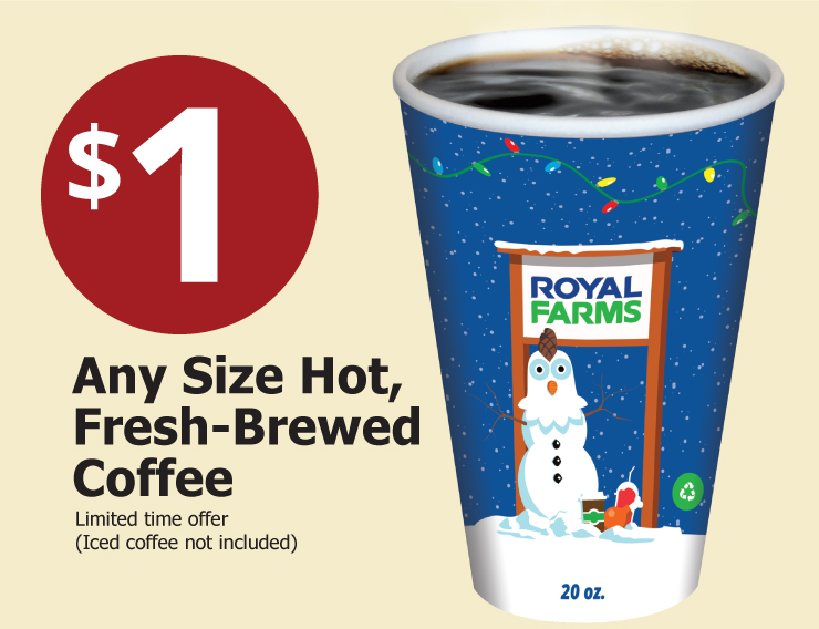 1 Any Size Hot Freshed Brewed Coffee