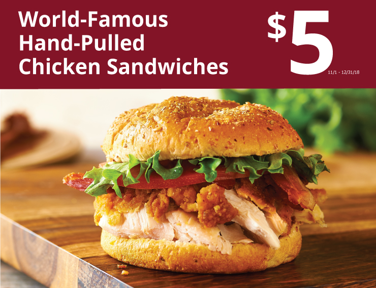 World Famous Hand Pulled Chicken Sandwiches