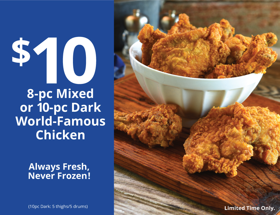 $10 8-pc Mixed or 10-pc Dark World-Famous Chicken
