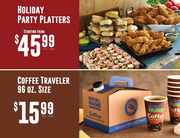 holiday platters and coffee traveler